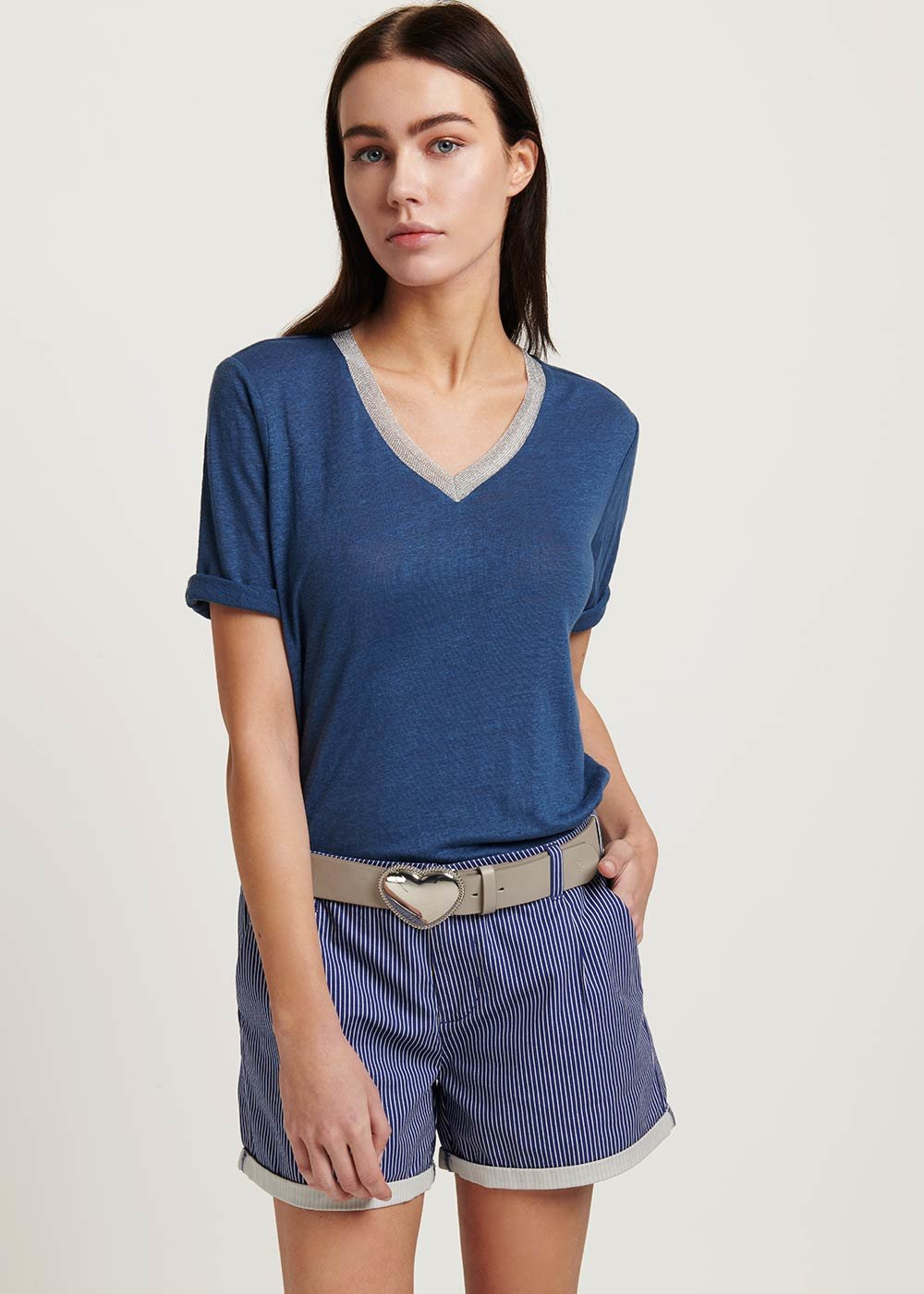 Samanta V-neck t-shirt - Blue - Woman