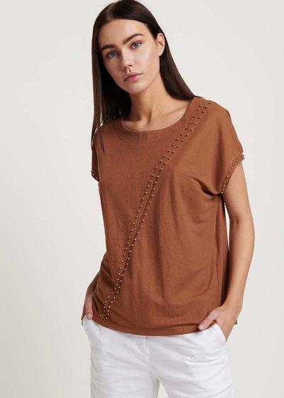 T-shirt Sabina con micro borchiette