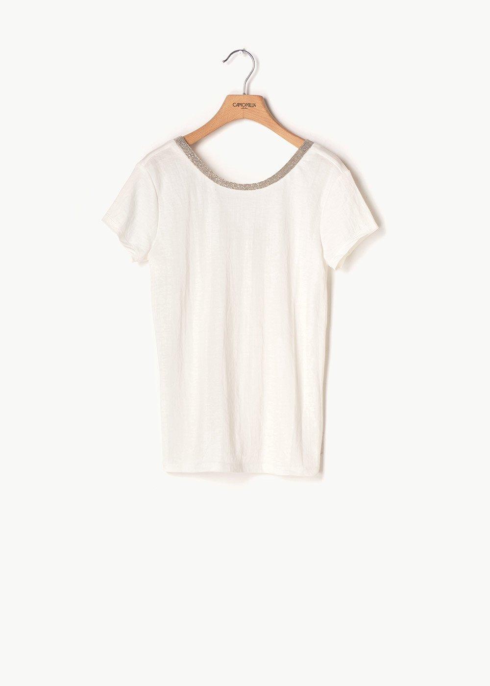 T-shirt Sael scollo tondo - White - Donna