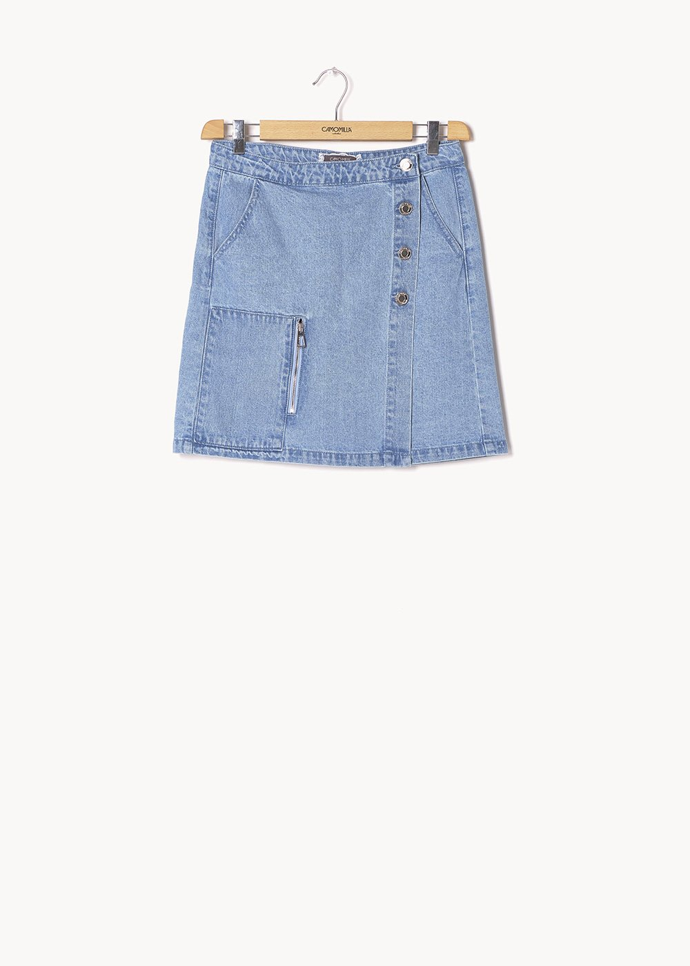 Glad skirt with asymmetrical buttons - Light Denim - Woman