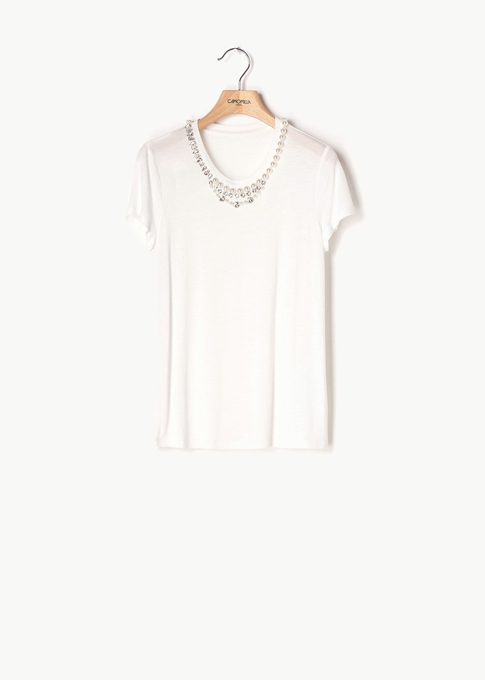 Selena T-shirt with pearl detail - White - Woman