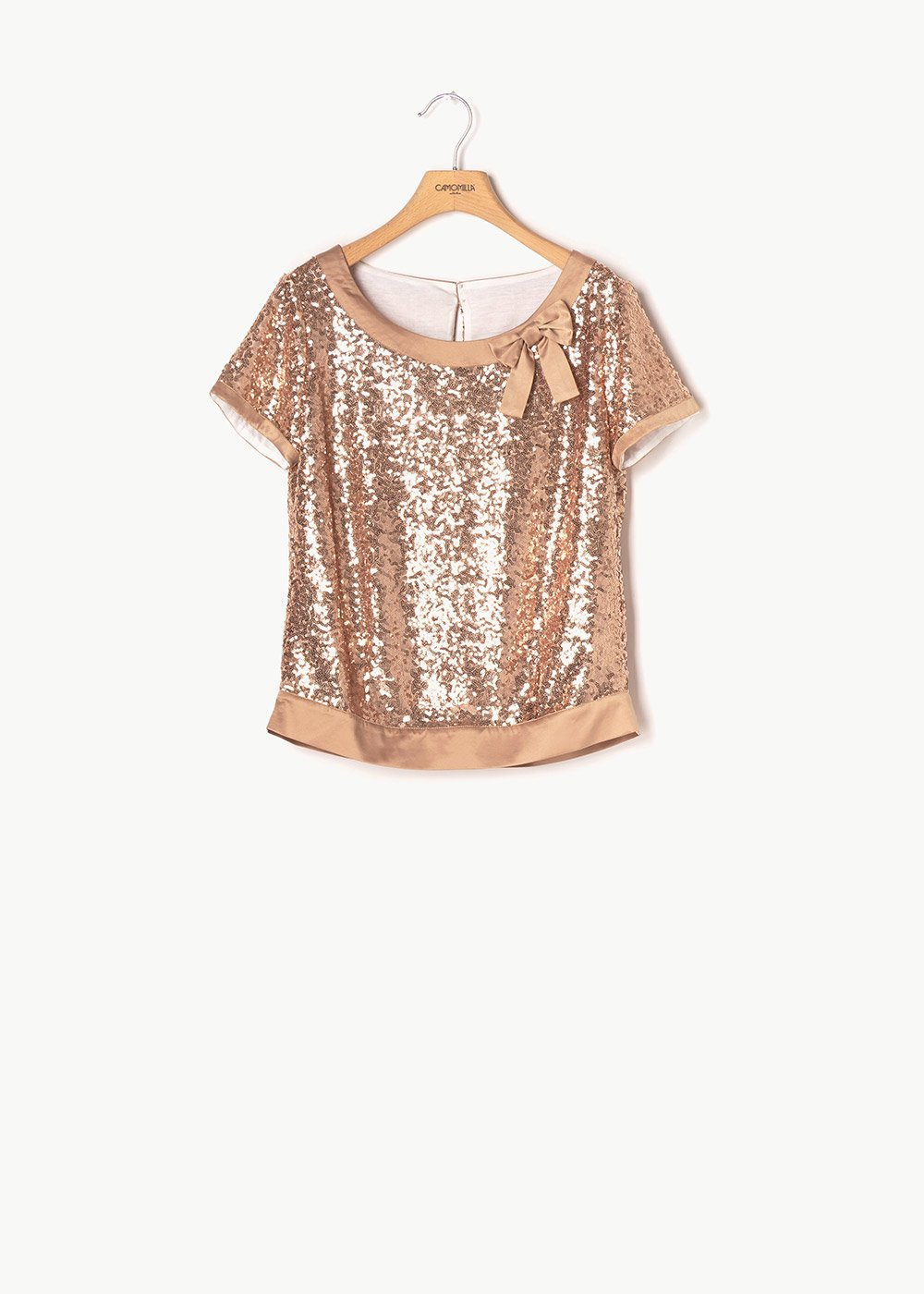 Sabrina T-shirt with sequins - Rose - Woman