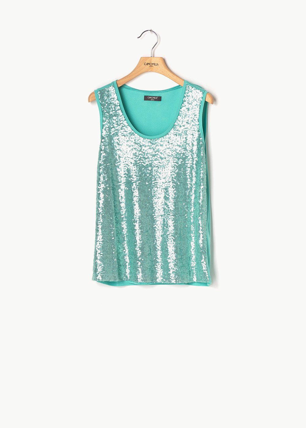 Timon top with sequins - Emerald - Woman