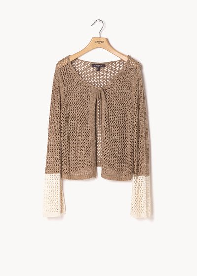Clayd two-tone shrug with flared sleeve