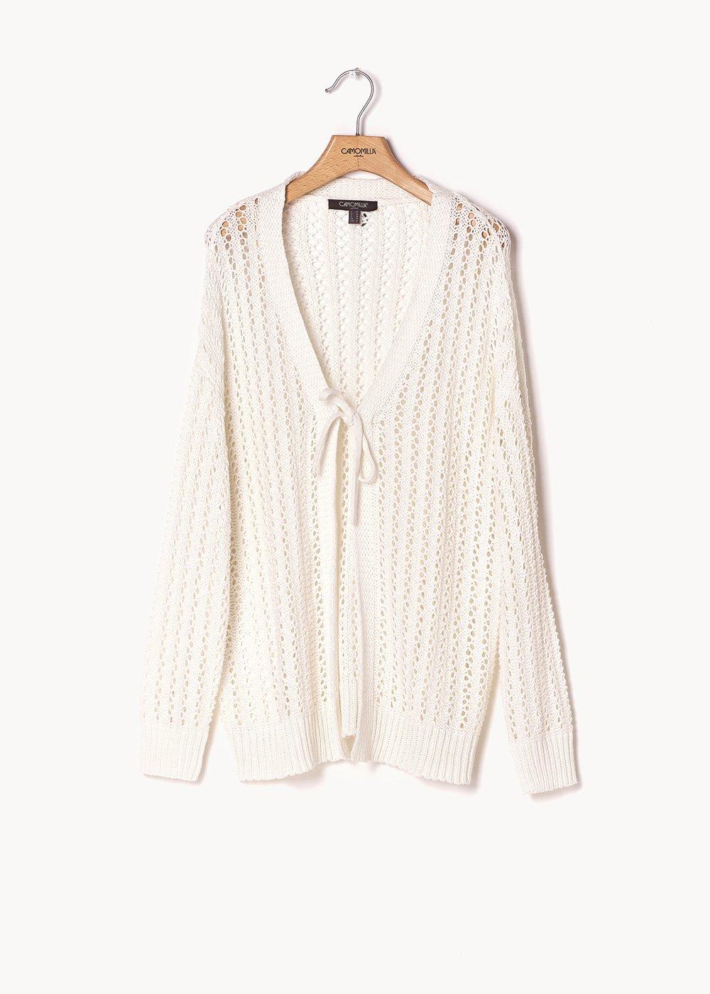 Caddy white openwork cardigan - White - Woman