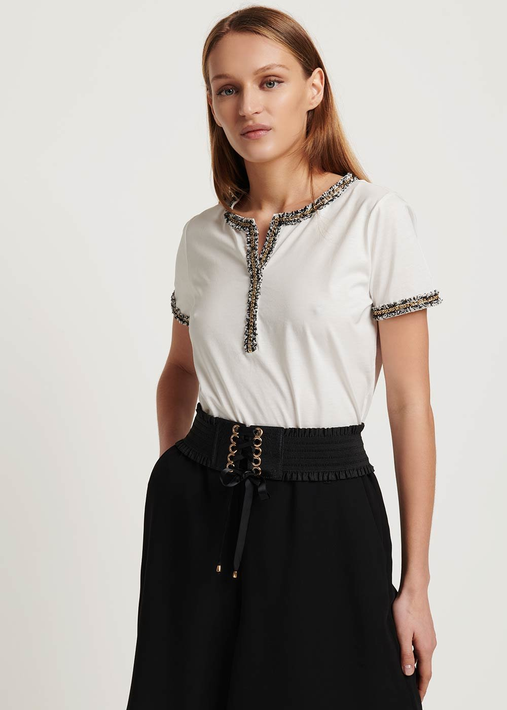 Susy T-shirt with bouclé detail - White - Woman