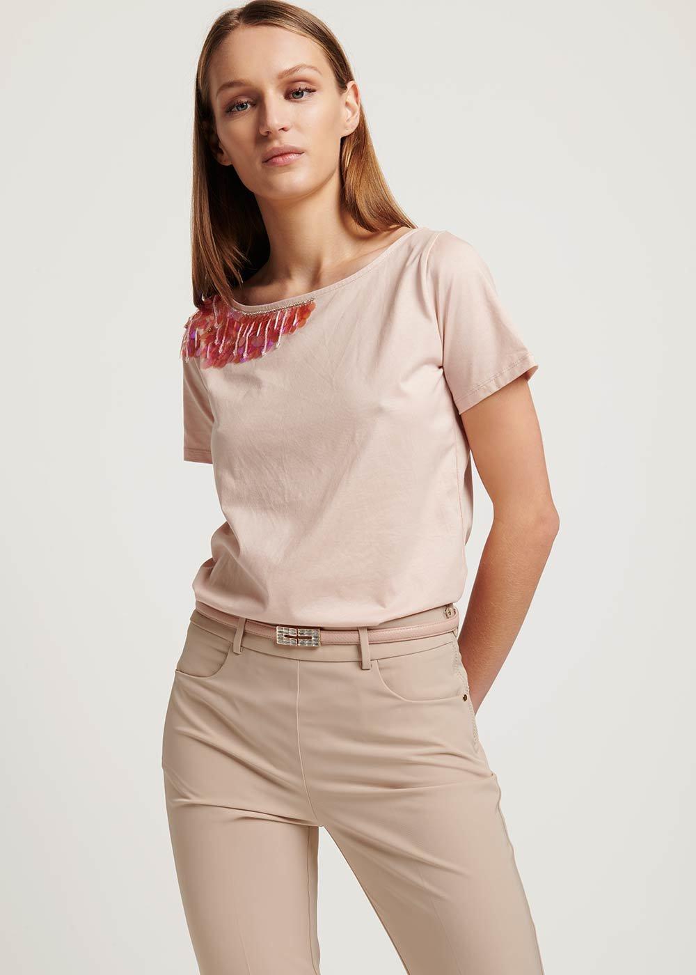 T-shirt Samira con dettagli paillettes e cristalli - Rosa - Donna