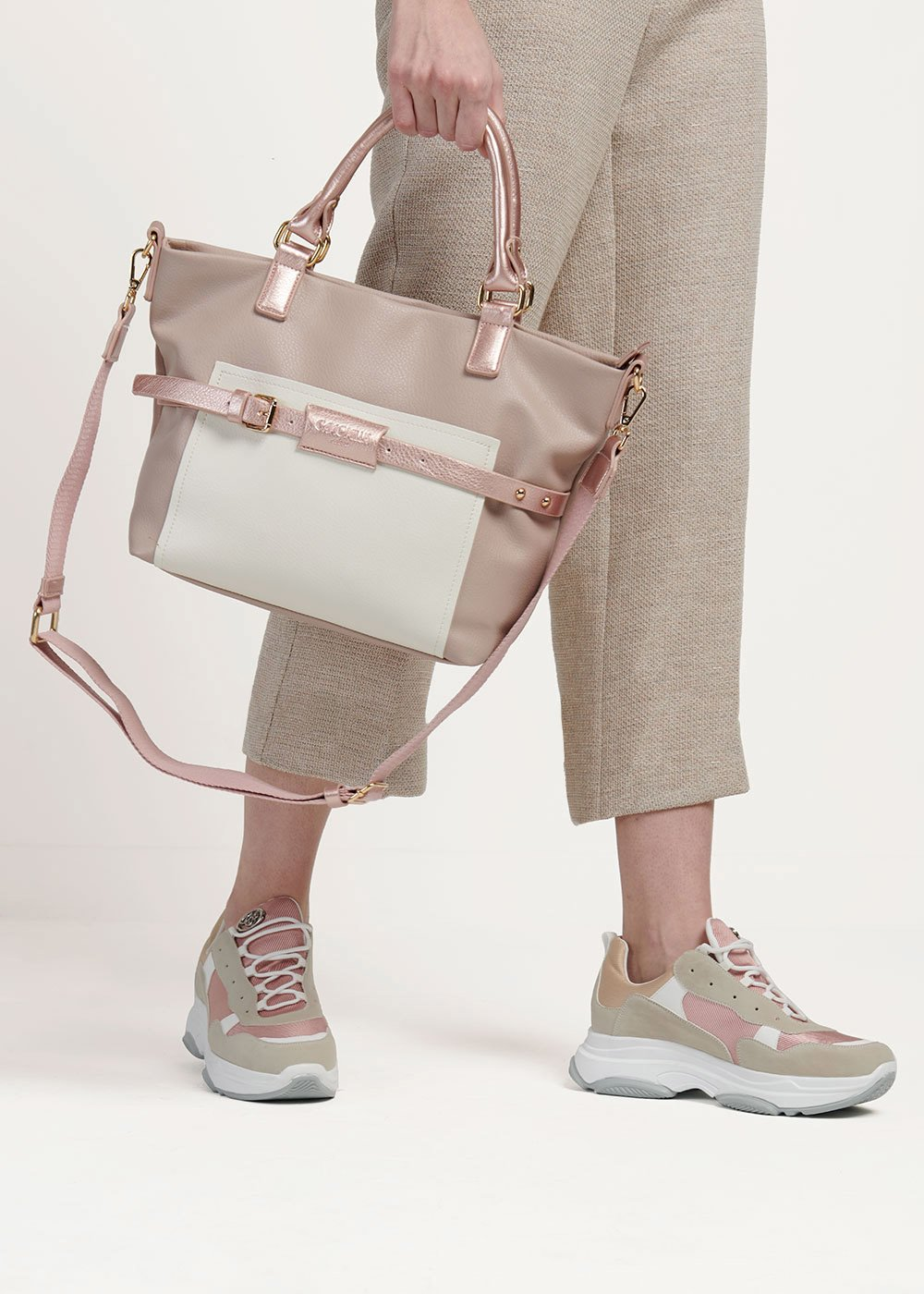 Backy two-tone handbag - Pink - Woman