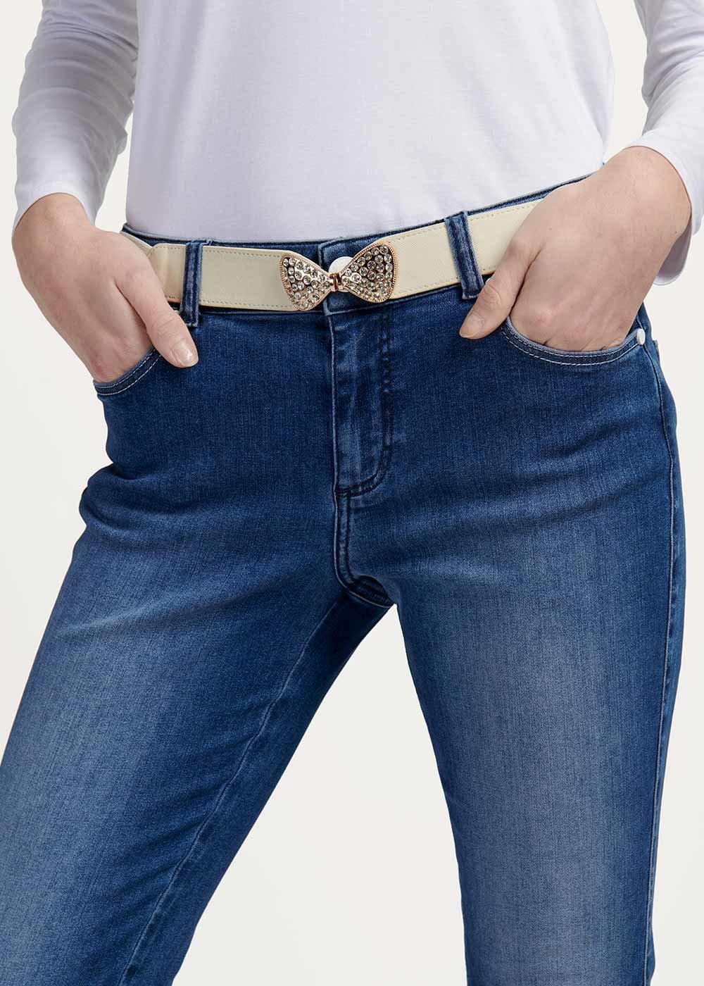 Cintura elastica Cindy con fiocco - Light Beige - Donna