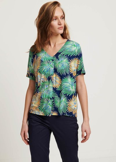 Sainoha T-shirt with tropical pattern