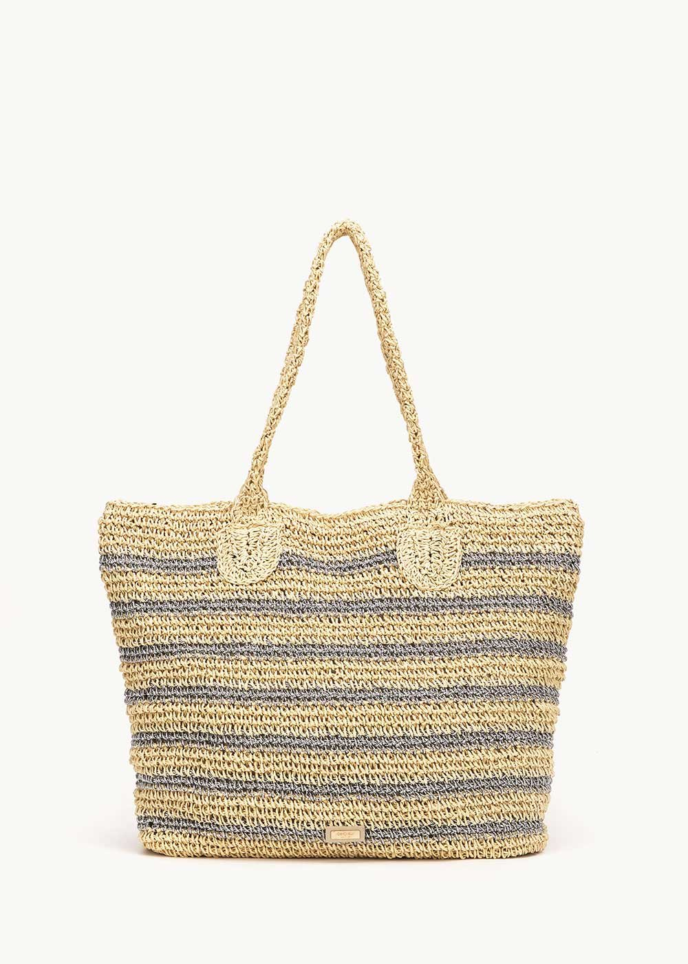 Bady straw shopping bag - Light Beige / Silver - Woman