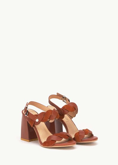 Sadie leather sandal with weave