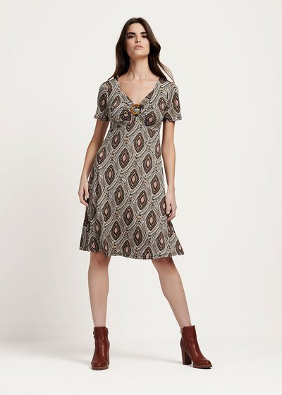 Aleisha v-neck dress with buckle detail