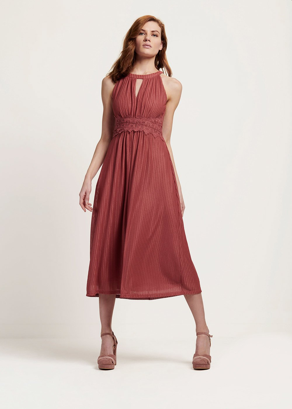Ashley dress with embroidery detail - Skin - Woman