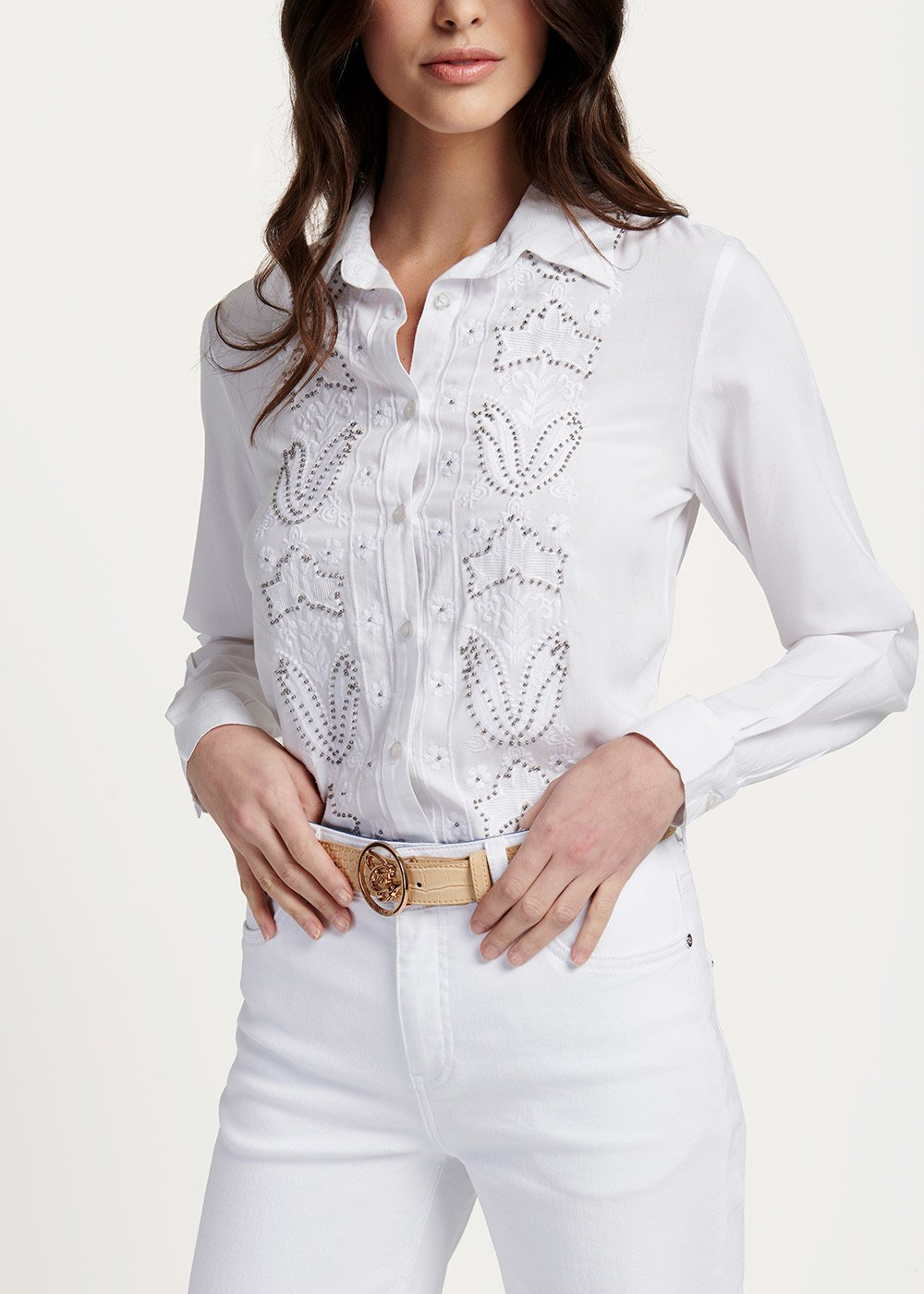 Corinne shirt with gun metal details - White - Woman