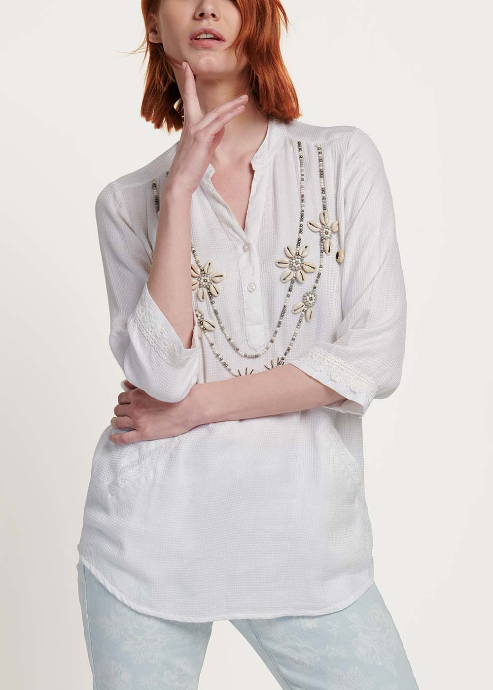 Coly blouse with embroidery of pearls and shells - White - Woman