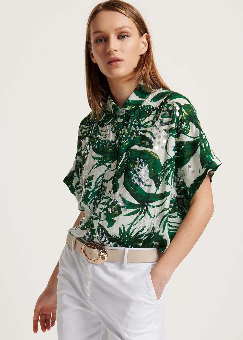Cashy patterned shirt - White \ Menta \ Fantasia - Woman