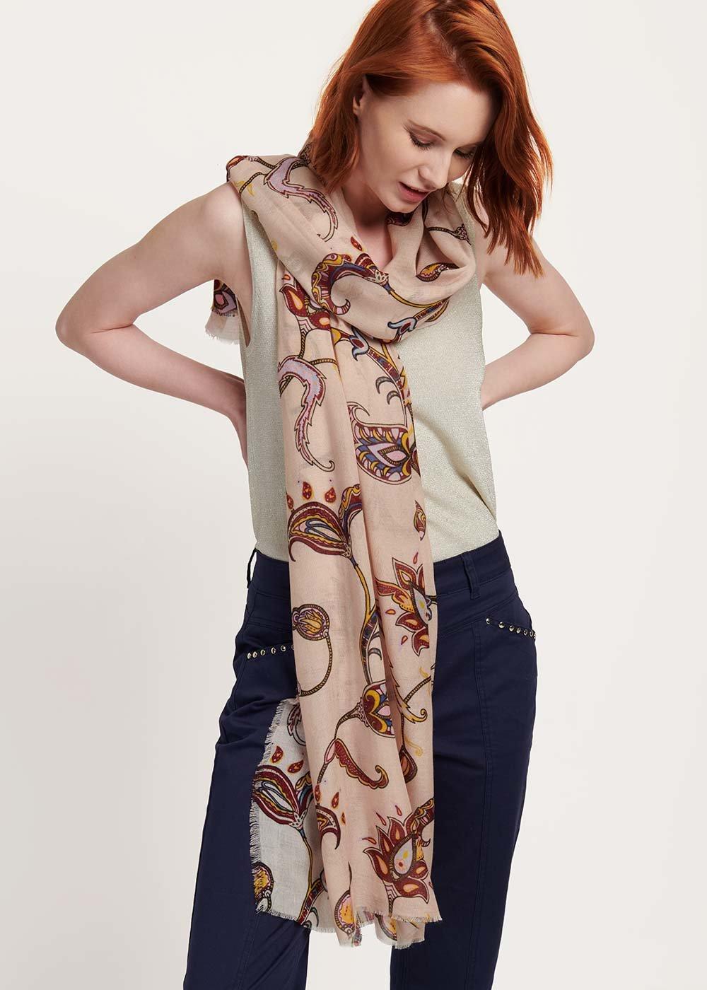 Sonya patterned headscarf - Doeskin Fantasia - Woman