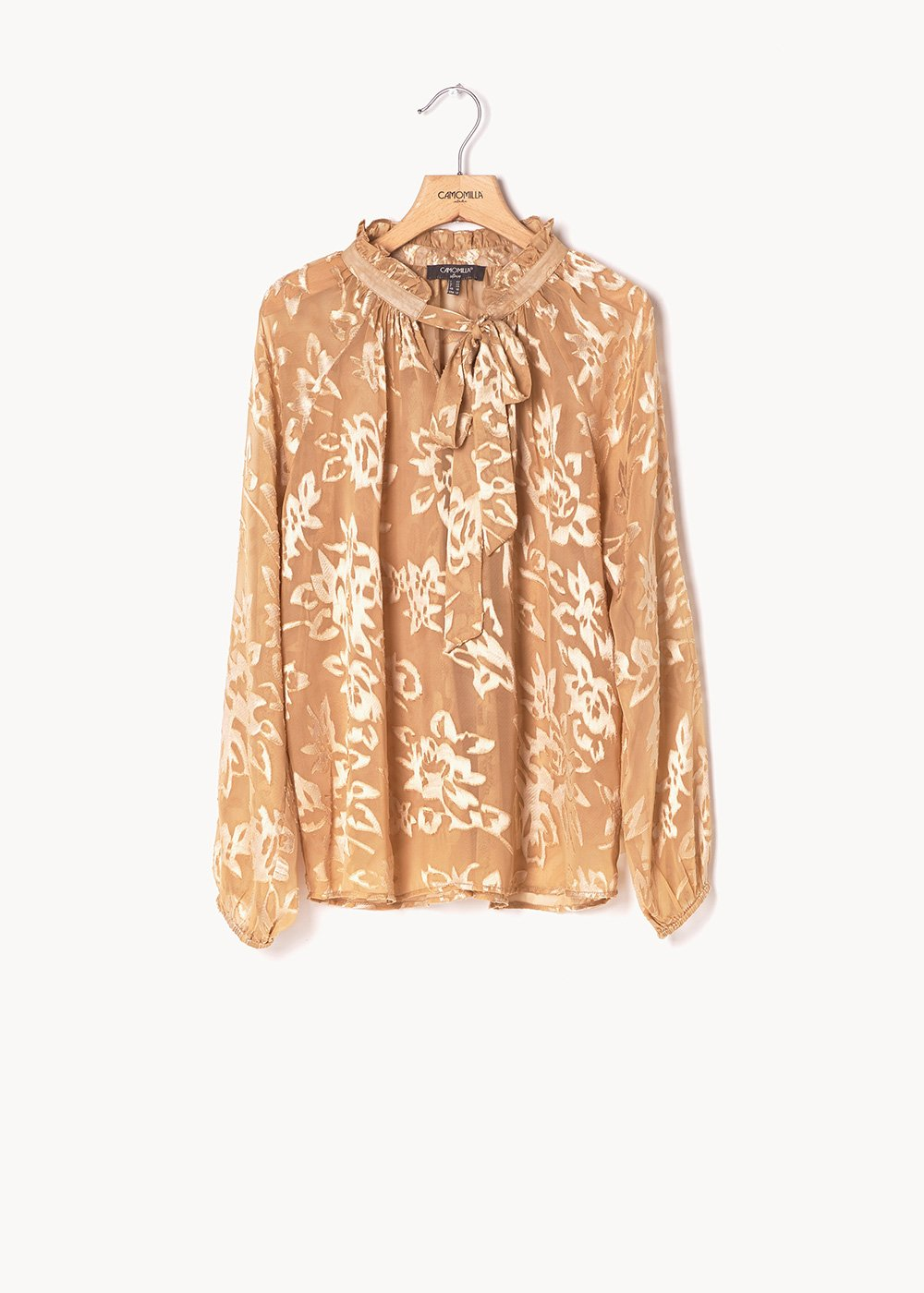 Claribel blouse with floral print - Light Beige - Woman