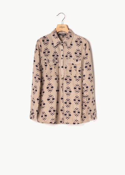 Camicia Clea fantasia righe e fiori