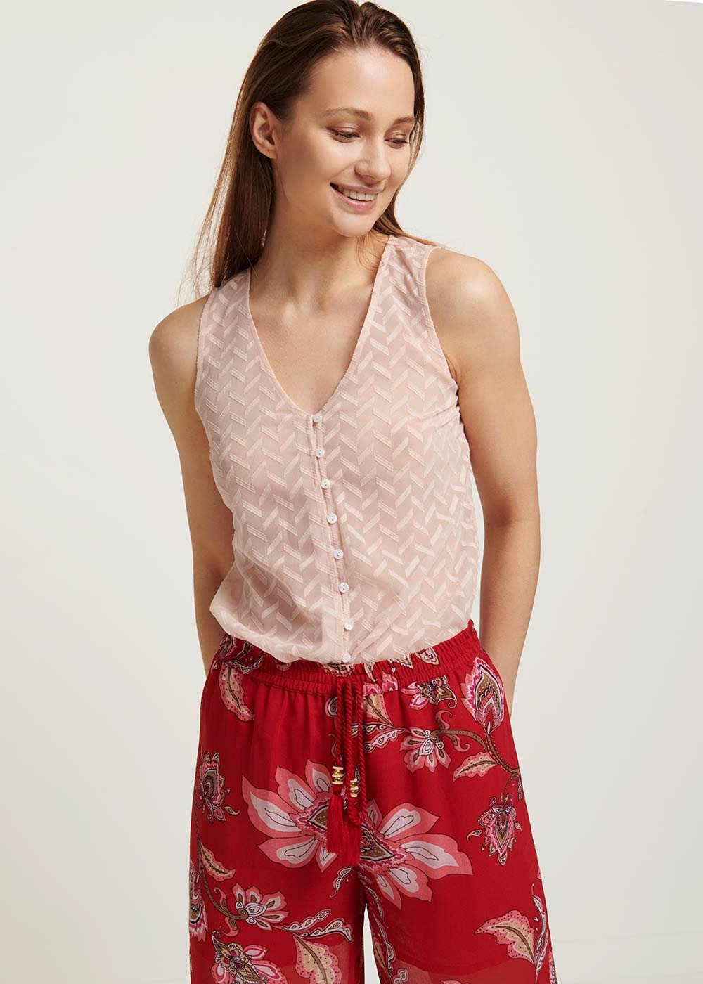 Timoty burnout georgette top - Pink - Woman