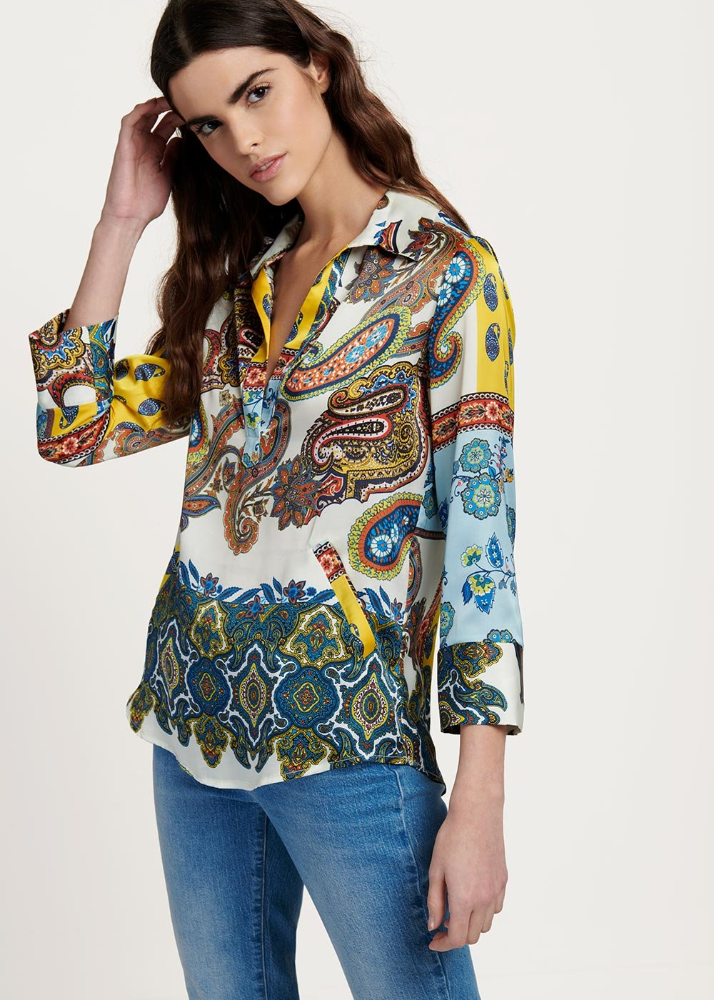 Angela blouse with coloured cashmere pattern