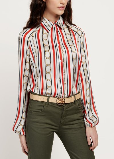 Cristina shirt with stripes and chains pattern