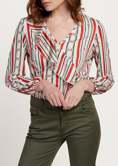 Carmen T-shirt with stripes and chains pattern
