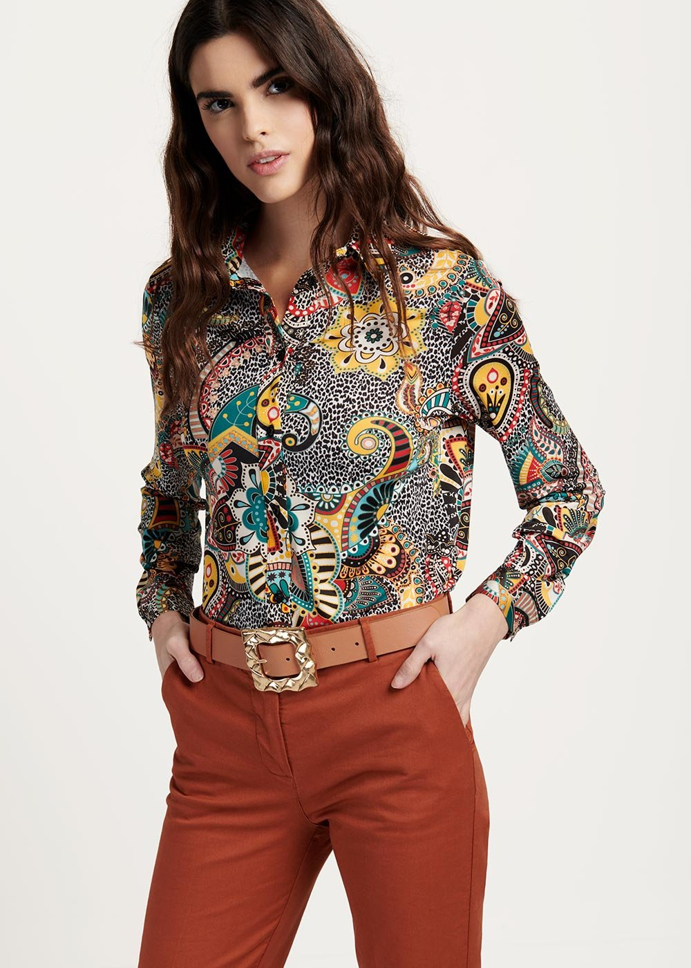 Cameron shirt with cashmere and spotted pattern - Black / Menta Fantasia - Woman