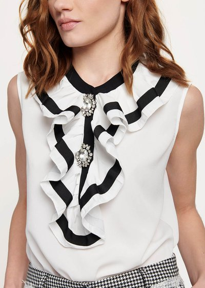 Camicia Candida con rouche bicolor