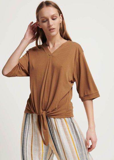 T-shirt Sole con nodo al fondo