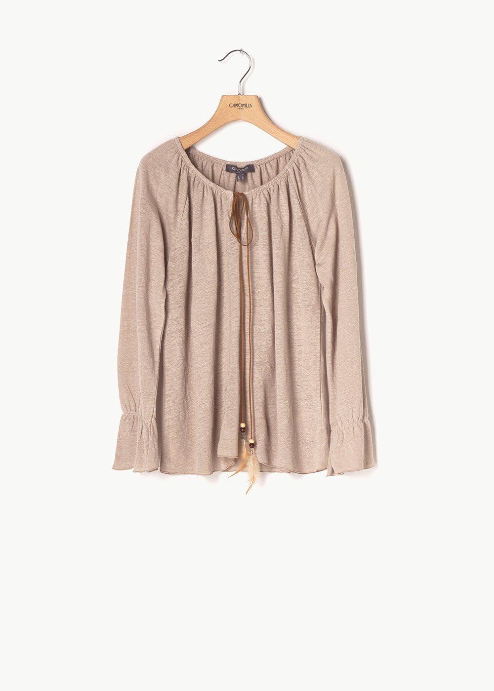 Swamy shirt with round neckline - Light Beige - Woman