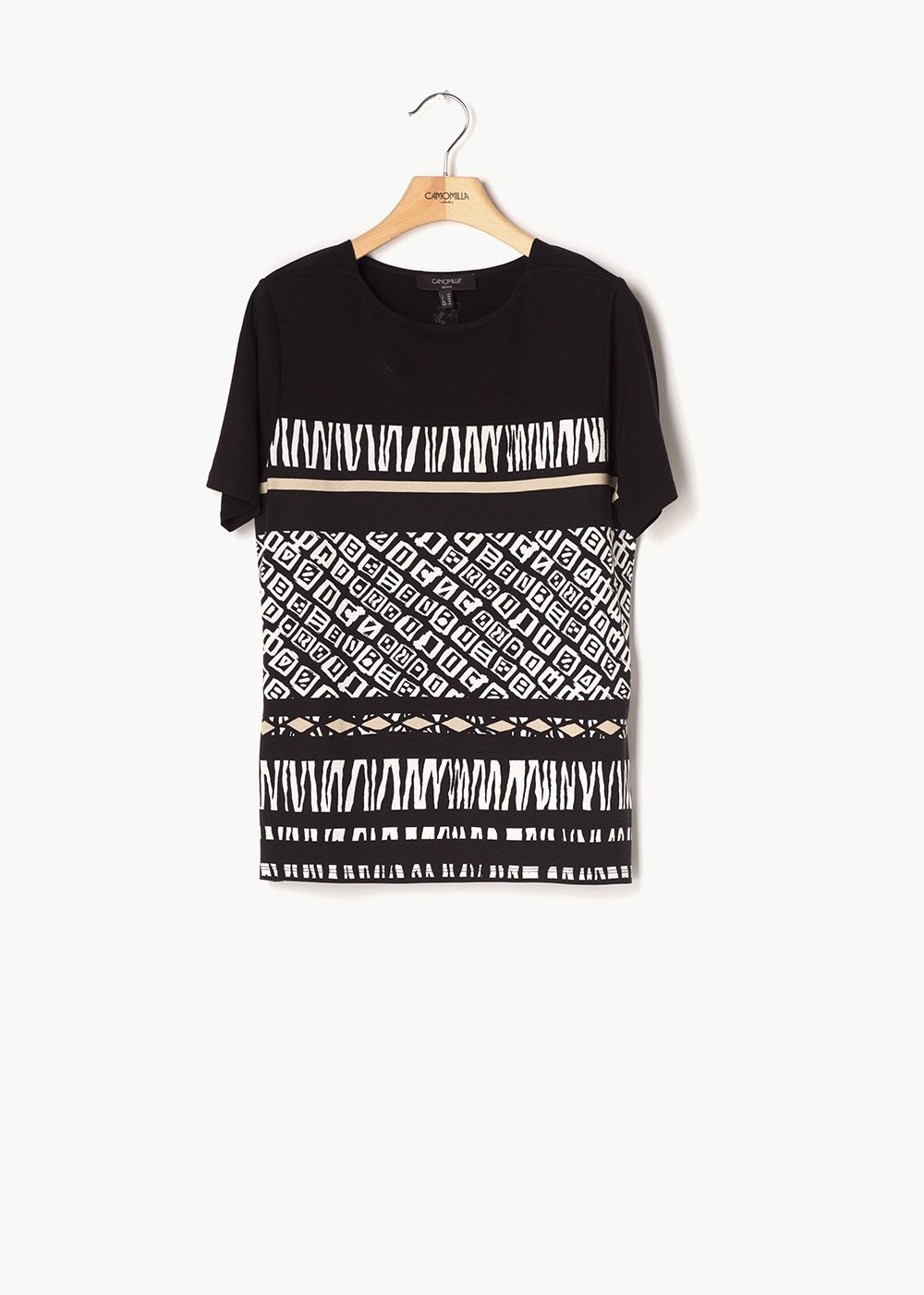 Sefora T-shirt with ethnic pattern - Black / Beige / Fantasia - Woman