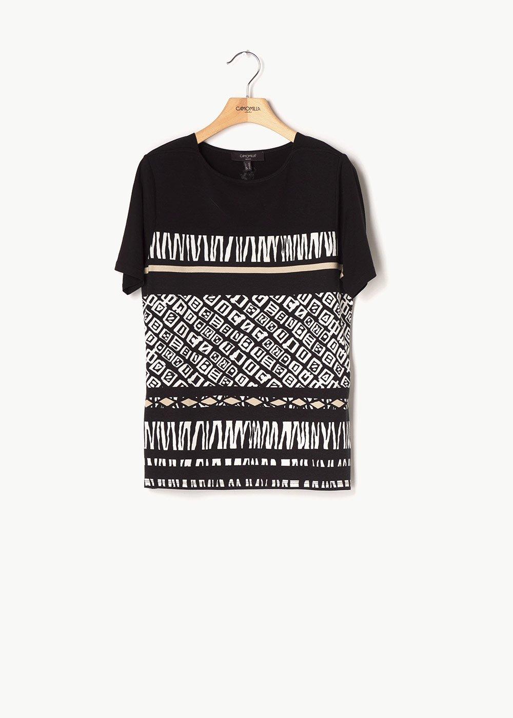 T-shirt Sefora motivo etnico - Black / Beige / Fantasia - Donna