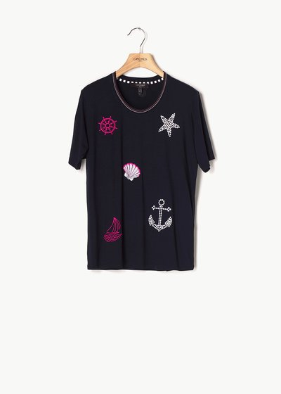Soleil T-shirt with navy details