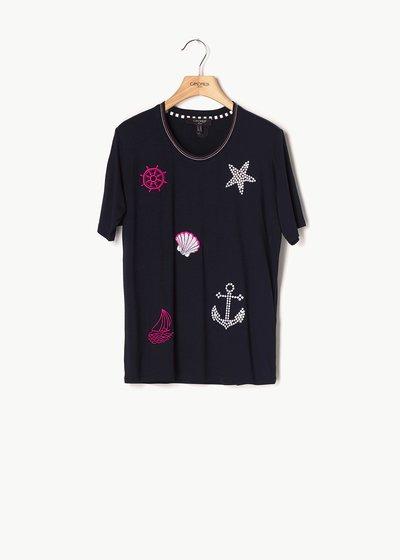 T-shirt Soleil con dettagli marina