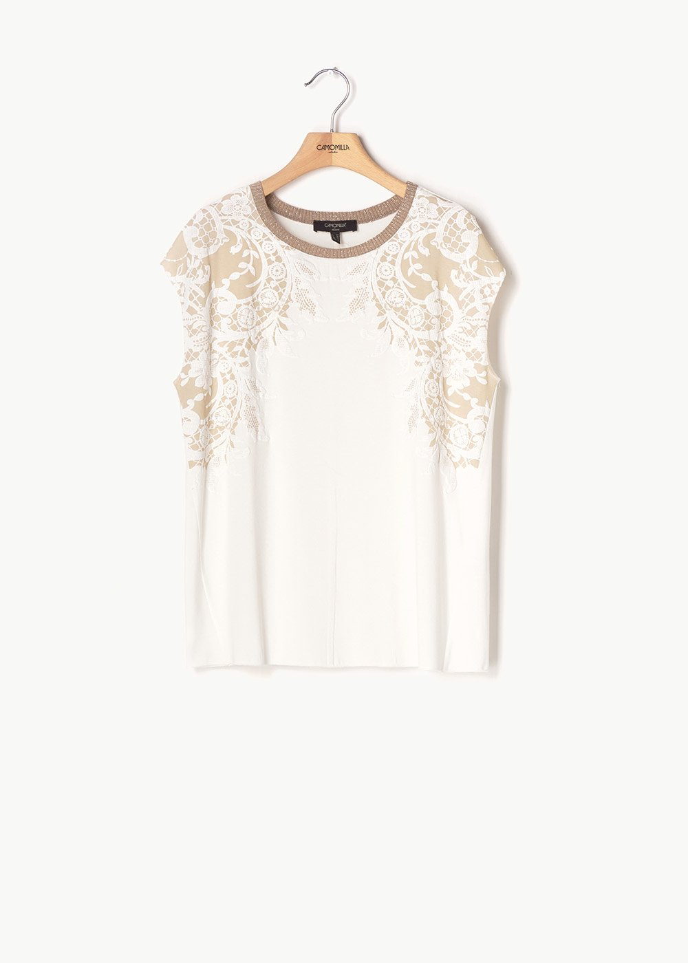 Sheila T-shirt with embroidery of flowers - White / Beige Fantasia - Woman