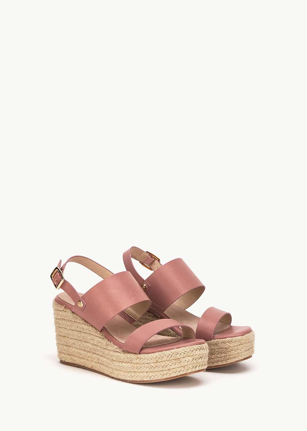 Shey sandal with straw wedge heel - Skin - Woman