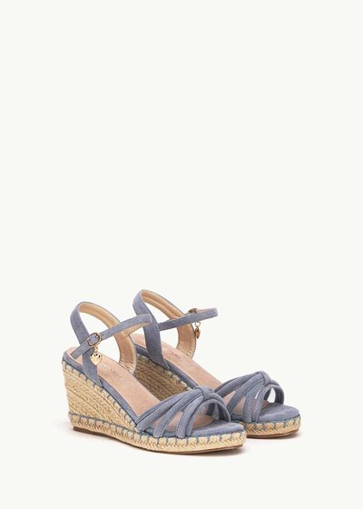 Syd sandal with straw wedge heel