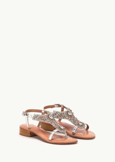 Saemy sandal with detail of crystals and sequins