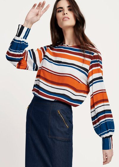 Shayla viscose T-shirt with horizontal stripes patterns