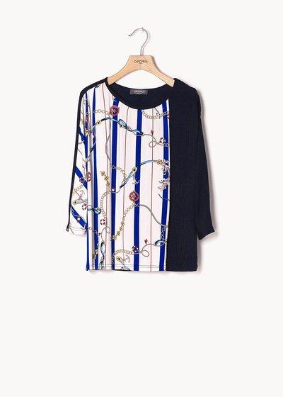 T-shirt Silvana stampa catene e tinta unita