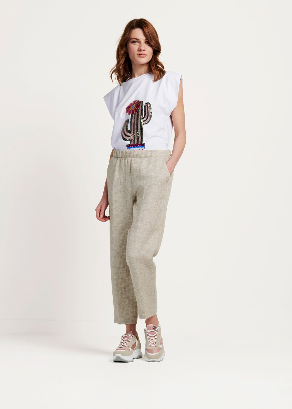 Clara trousers with rush matting-effect elastic waistband - Light Beige - Woman