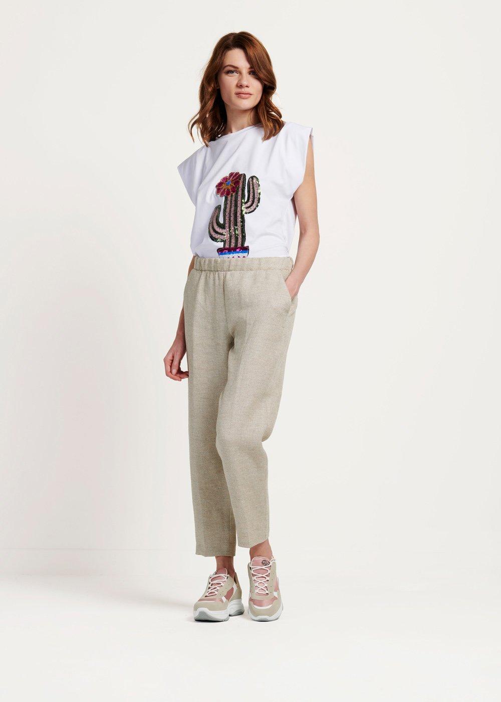 Clara trousers with rush matting-effect elastic waistband - Light Beige - Woman