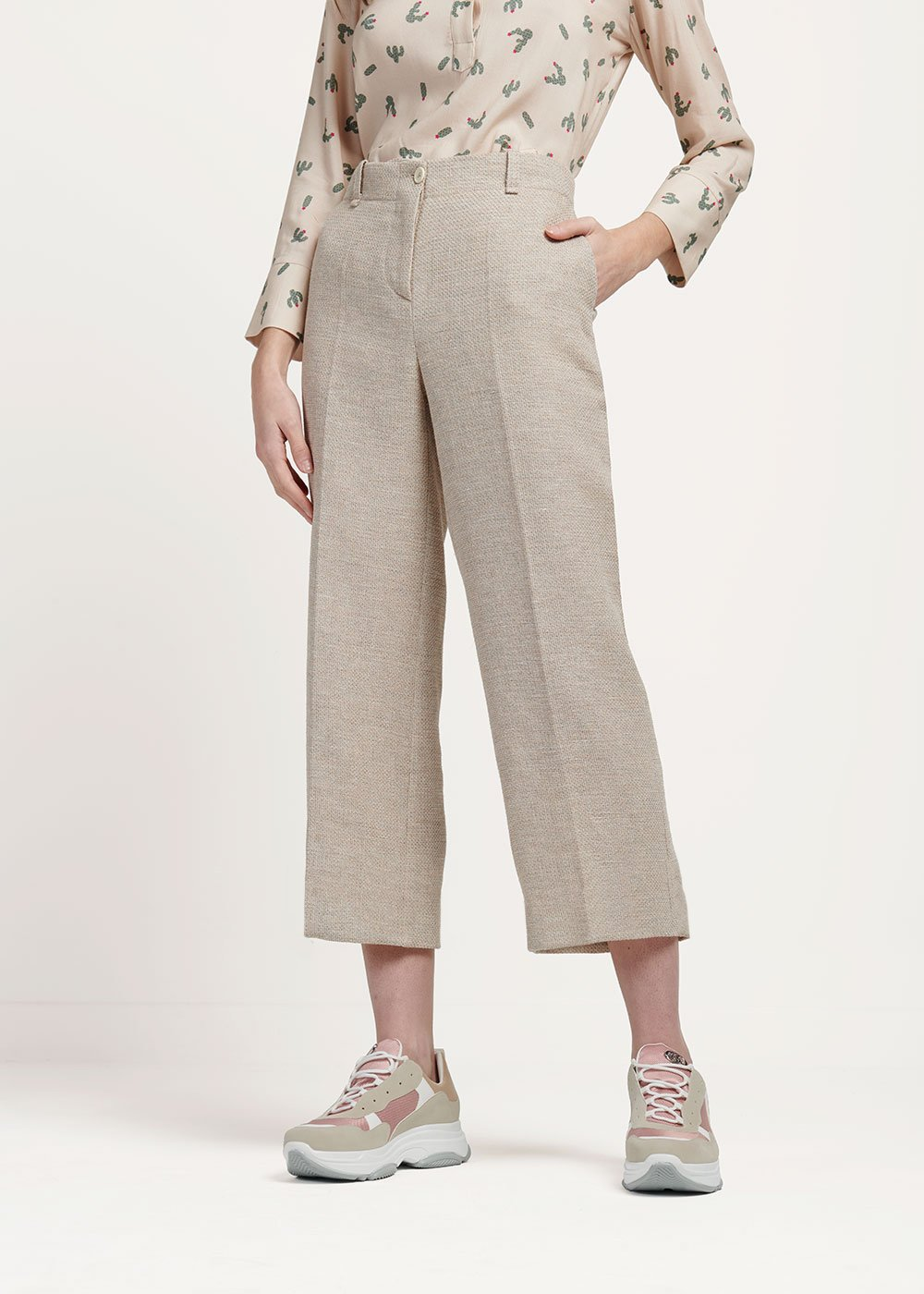 Sara trousers with rush matting-effect bustier - Light Beige - Woman