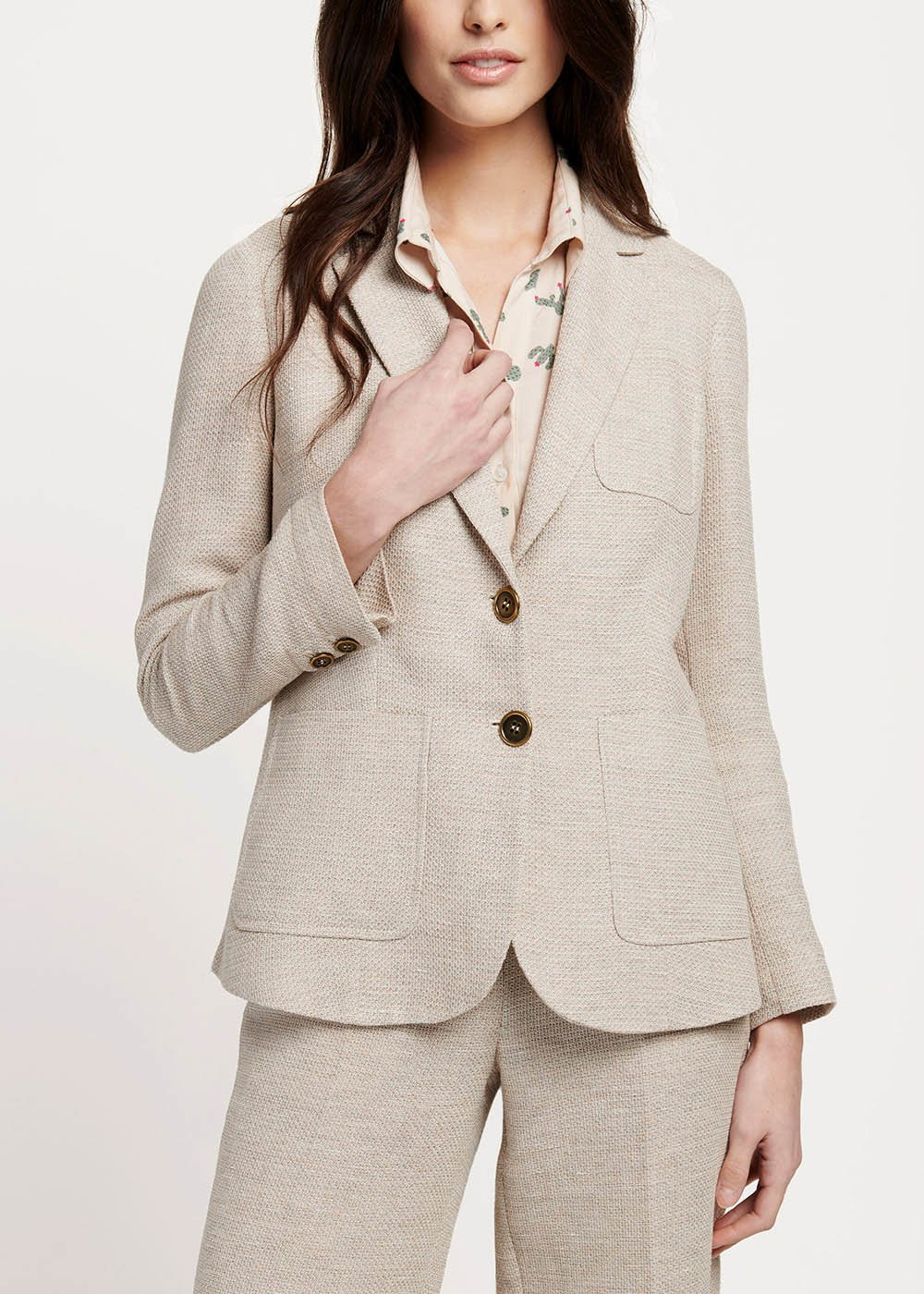 Kelly jacket with rush matting effect - Light Beige - Woman