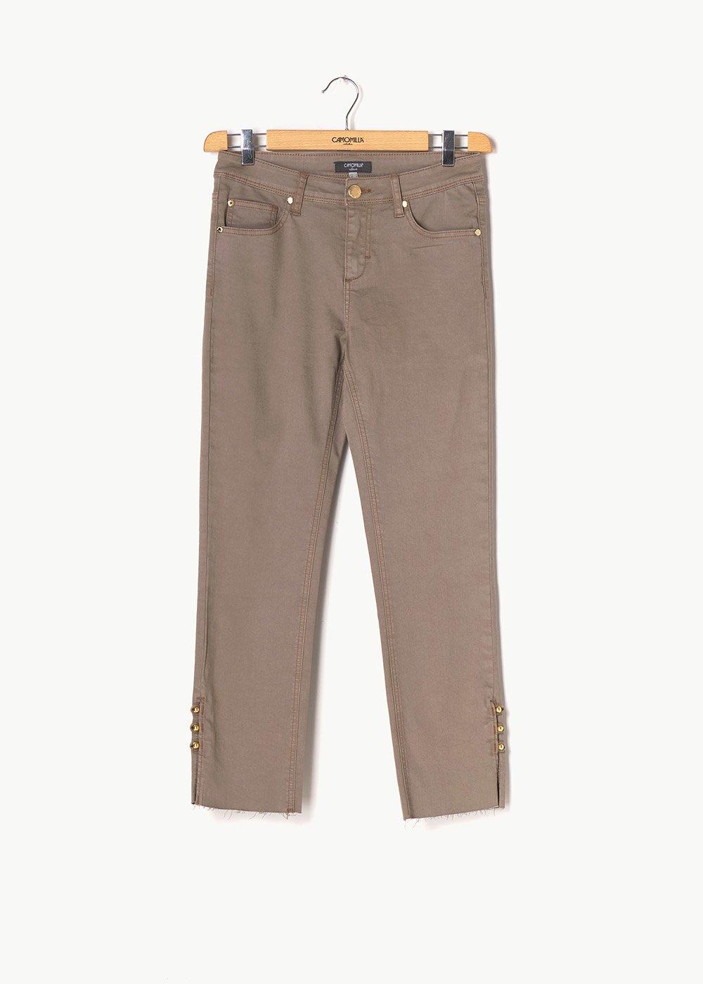 Piero capri pants with details at the bottom - Beige - Woman