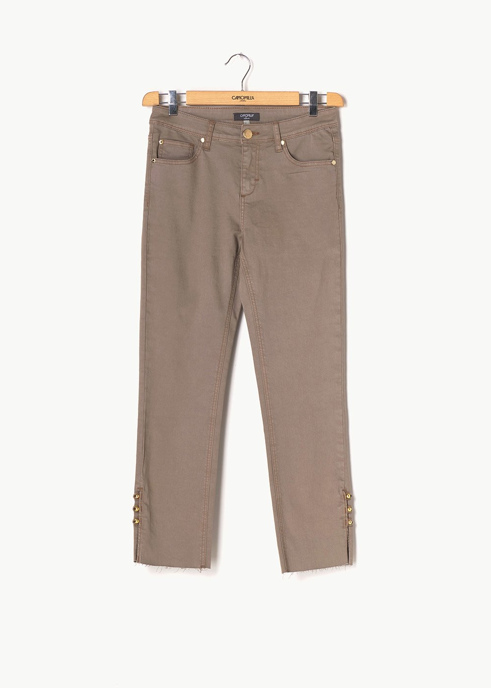 Piero capri pants with details at the bottom - Beige - Woman