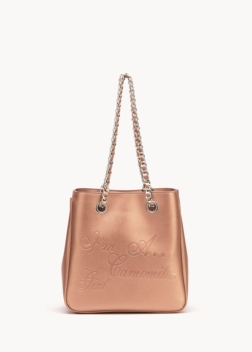 Shopping bag Mini Camo Girl in eco pelle con logo embossed - Gold Rose - Donna