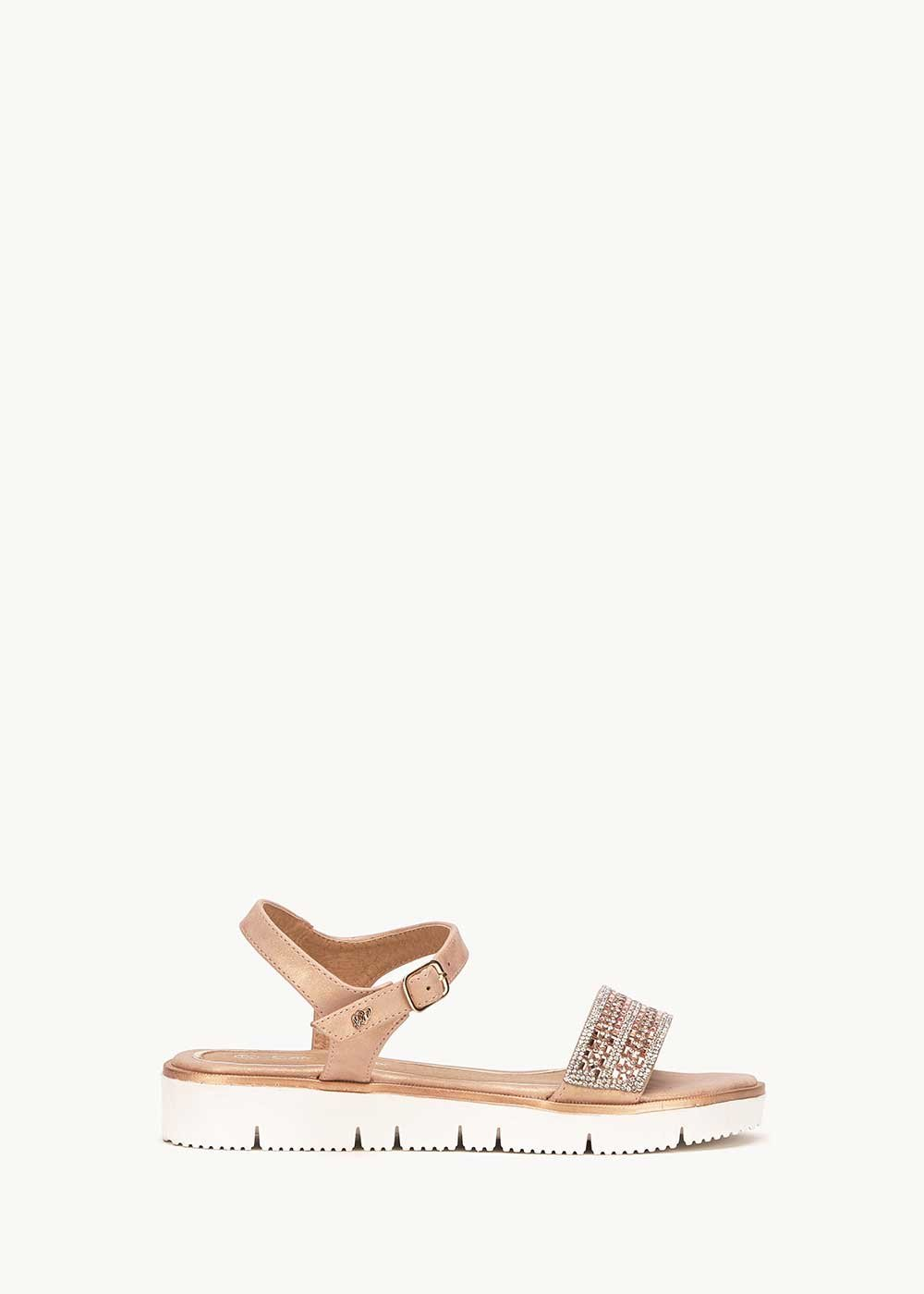 Shevon sandal with crystal band - Gold Rose	 - Woman